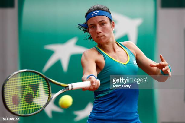 Anastasija Sevastova of Latvia hits a forehand during the ladies singles second round match against Eugenie Bouchard of Canada on day five of the...