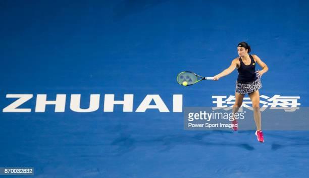 Anastasija Sevastova of Latvia hits a return during the singles semi final match of the WTA Elite Trophy Zhuhai 2017 against Julia Goerges of...