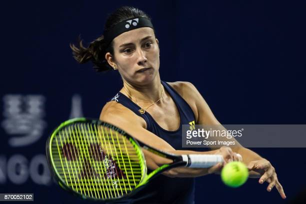 Anastasija Sevastova of Latvia hits a return during the singles semi final match of the WTA Elite Trophy Zhuhai 2017 against Julia Goerges of Germany...