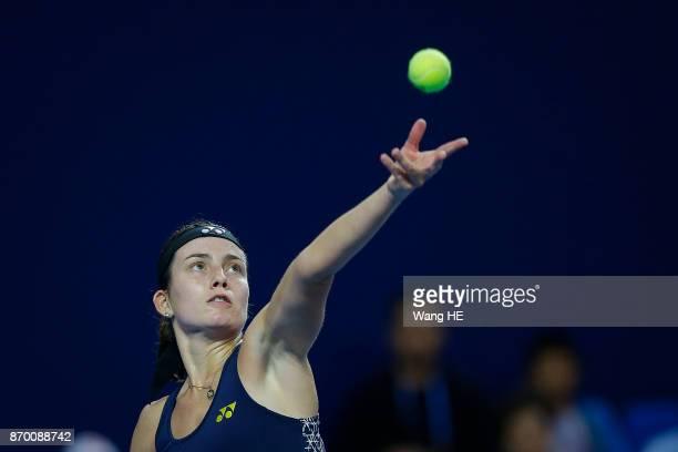 Anastasija Sevastova of Latvia hits a return in her Semi final match against Julia Goerges of Germany uring the WTA Elite Trophy Zhuhai 2017 at...