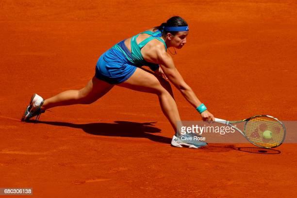 Anastasija Sevastova of Latvia in action during her match against Karolina Pliskova of Czech Republic on day three of the Mutua Madrid Open tennis at...