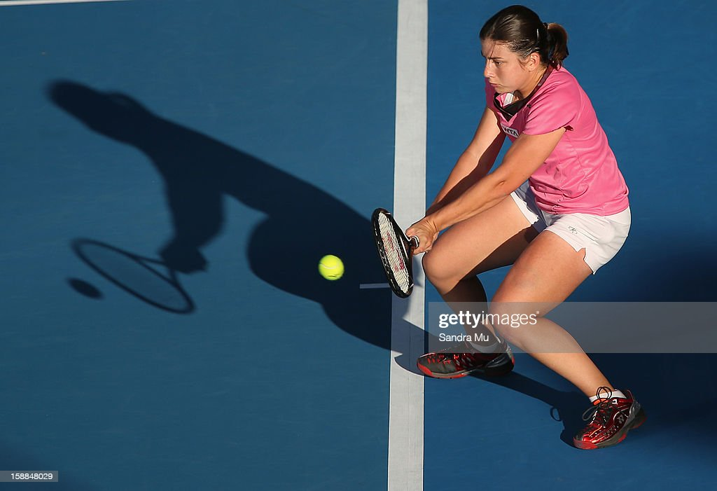 Anastasija Sevastova of Latvia plays a backhand in her first round match against Julia Goerges of Germany during day two of the 2013 ASB Classic on January 1, 2013 in Auckland, New Zealand.