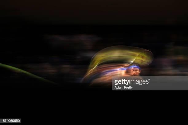 Anastasija Sevastova of Latvia plays a forehand during her match against Johanna Konta of Great Britain plays a forehand during the Porsche Tennis...