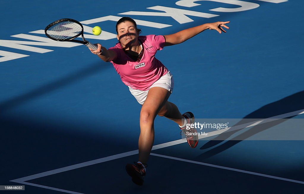Anastasija Sevastova of Latvia plays a forehand in her first round match against Julia Goerges of Germany during day two of the 2013 ASB Classic on January 1, 2013 in Auckland, New Zealand.