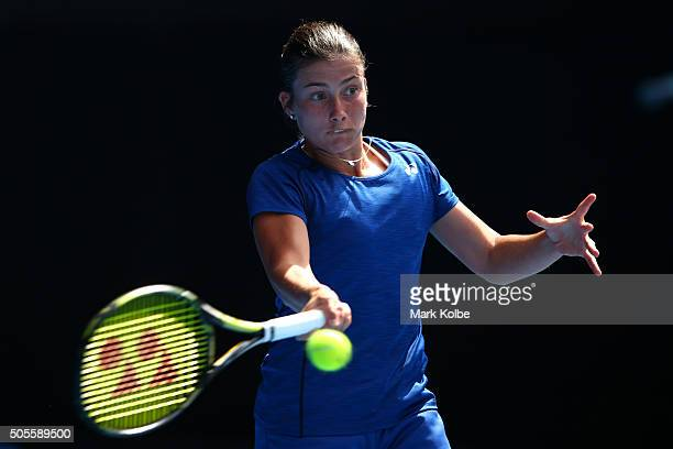 Anastasija Sevastova of Latvia plays a forehand in her first round match against Jarmila Wolfe of Australia during day two of the 2016 Australian...