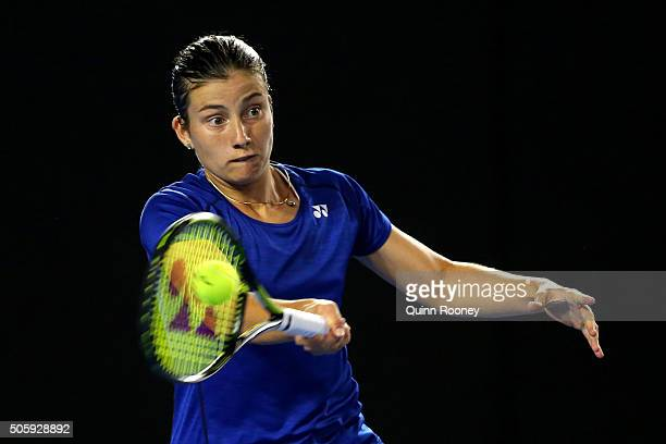 Anastasija Sevastova of Latvia plays a forehand in her second round match against Ana Ivanovic of Serbia during day four of the 2016 Australian Open...