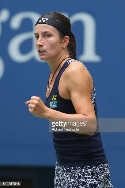 Anastasija Sevastova of Latvia reacts during her women's singles fourth round match against Maria Sharapova of Russia on Day Seven of the 2017 US...