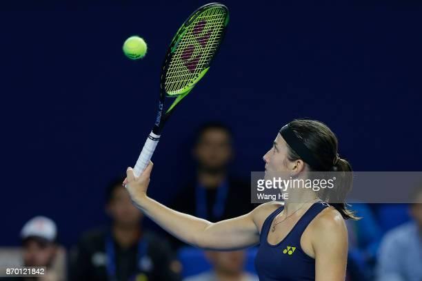 Anastasija Sevastova of Latvia reacts in her Semi final match against Julia Goerges of Germany uring the WTA Elite Trophy Zhuhai 2017 at Hengqin...