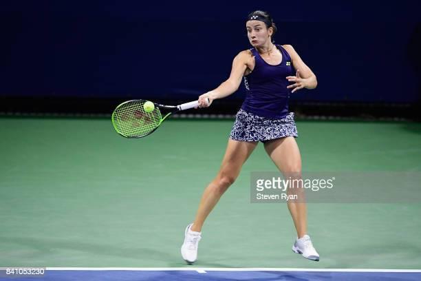 Anastasija Sevastova of Latvia returns a shot against Kateryna Kozlova of Ukraine on Day Three of the 2017 US Open at the USTA Billie Jean King...