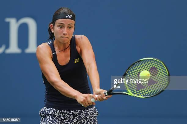 Anastasija Sevastova of Latvia returns a shot against Sloane Stephens of the United States during her Women's Singles Quarterfinal match on Day Nine...