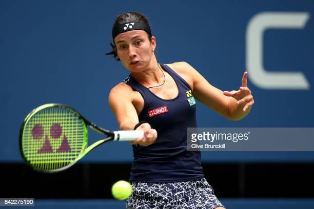 Anastasija Sevastova of Latvia returns a shot during her women's singles fourth round match against Maria Sharapova of Russia on Day Seven of the...