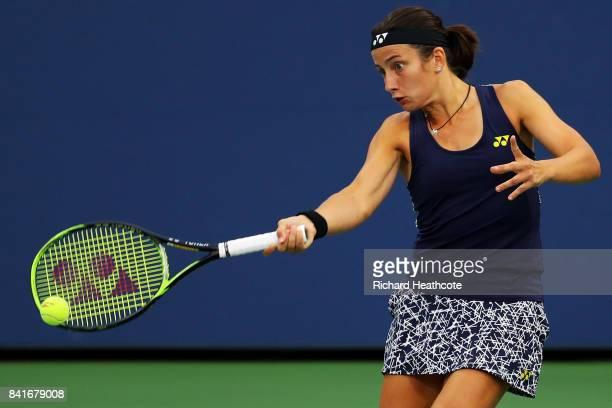 Anastasija Sevastova of Latvia returns a shot to Donna Vekic of Croatia on Day Five of the 2017 US Open at the USTA Billie Jean King National Tennis...