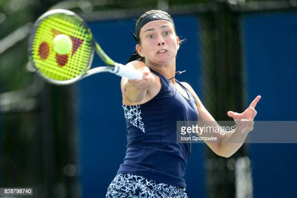 Anastasija Sevastova of Latvia returns the ball during her second round match of the 2017 Rogers Cup tennis tournament on August 9 at Aviva Centre in...