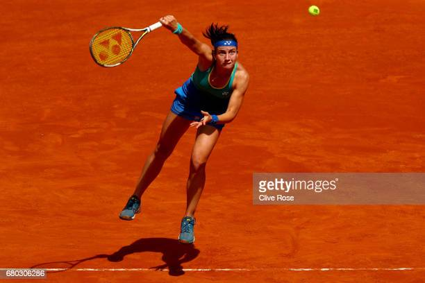 Anastasija Sevastova of Latvia serves during her match against Karolina Pliskova of Czech Republic on day three of the Mutua Madrid Open tennis at La...
