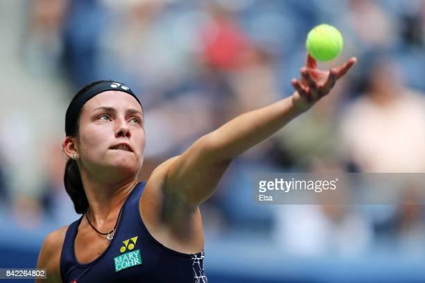 Anastasija Sevastova of Latvia serves during her women's singles fourth round match against Maria Sharapova of Russia on Day Seven of the 2017 US...