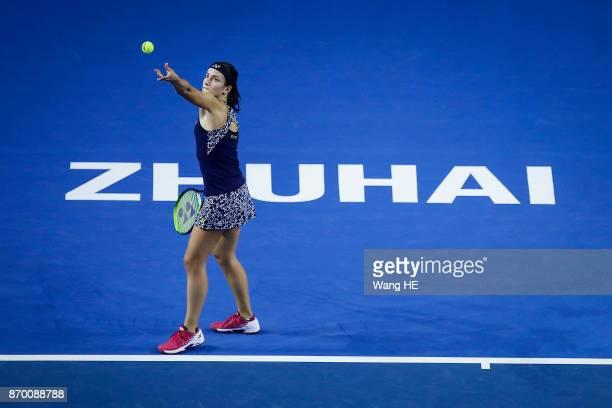 Anastasija Sevastova of Latvia serves in her Semi final match against Julia Goerges of Germany uring the WTA Elite Trophy Zhuhai 2017 at Hengqin...