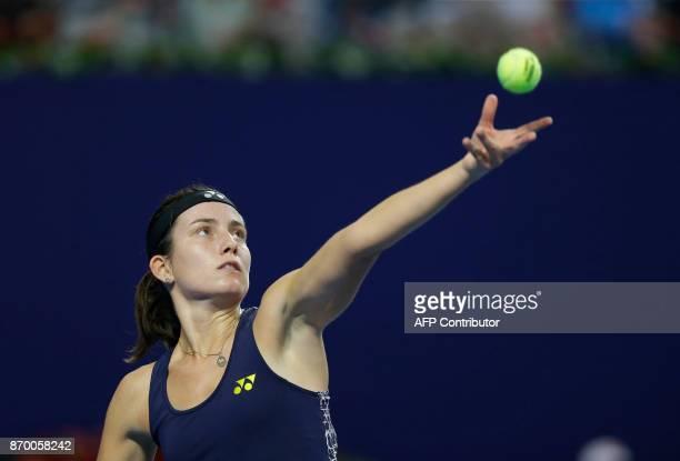 Anastasija Sevastova of Latvia serves to Julia Goerges of Germany during their women's singles semifinal match at the Zhuhai Elite Trophy tennis...