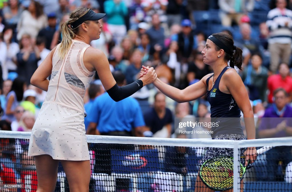 Anastasija Sevastova of Latvia shakes hands with Maria Sharapova of Russia after defeating her in their women's singles fourth round match on Day Seven of the 2017 US Open at the USTA Billie Jean King National Tennis Center on September 3, 2017 in the Flushing neighborhood of the Queens borough of New York City.