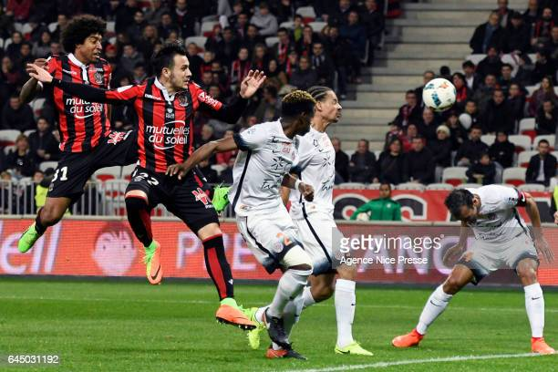 Anastasios Donis and Dante of Nice during the French Ligue 1 match between Nice and Montpellier on February 24 2017 in Nice France