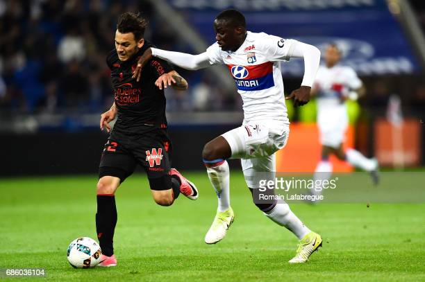 Anastasios Donis of Nice Mouctar Diakhaby of Lyon during the Ligue 1 match between Olympique Lyonnais and OGC Nice at Stade des Lumieres on May 20...