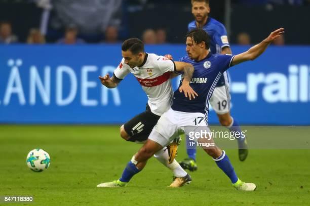 Anastasios Donis of Stuttgart and Benjamin Stambouli of Schalke battle for the ball during the Bundesliga match between FC Schalke 04 and VfB...
