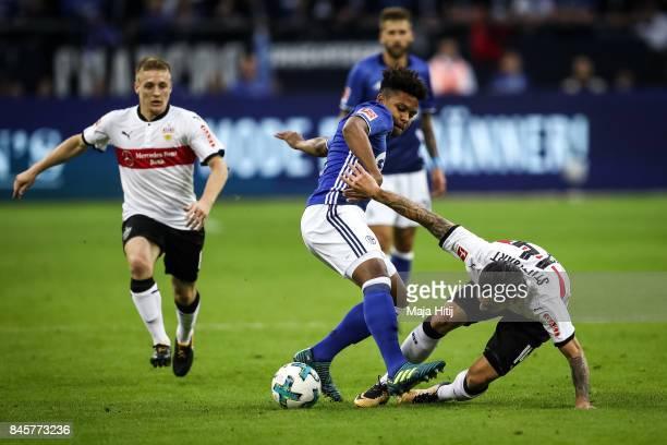 Anastasios Donis of Stuttgart and Weston McKennie of Schalke battle for the ball during the Bundesliga match between FC Schalke 04 and VfB Stuttgart...