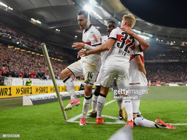 Anastasios Donis of Stuttgart celebrates with his teammates after scoring his team's first goal during the Bundesliga match between VfB Stuttgart and...