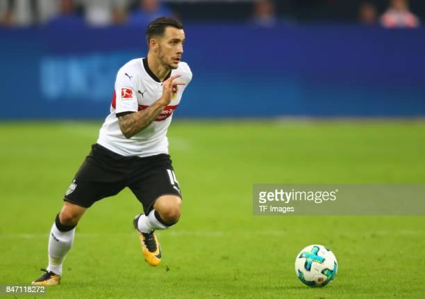 Anastasios Donis of Stuttgart controls the ball during the Bundesliga match between FC Schalke 04 and VfB Stuttgart at VeltinsArena on September 10...