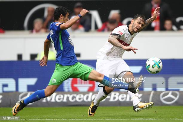 Anastasios Donis of Stuttgart fights for the ball with Furtado De Asevedo of Wolfsburg during the Bundesliga match between VfB Stuttgart and VfL...