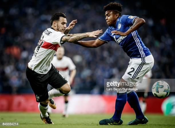 Anastasios Donis of Stuttgart is challenged by Weston McKennie of Schalke during the Bundesliga match between FC Schalke 04 and VfB Stuttgart at...