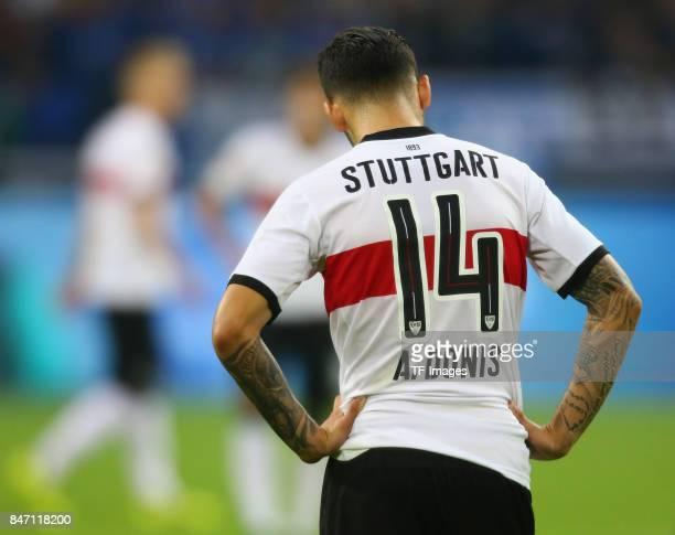 Anastasios Donis of Stuttgart looks on during the Bundesliga match between FC Schalke 04 and VfB Stuttgart at VeltinsArena on September 10 2017 in...