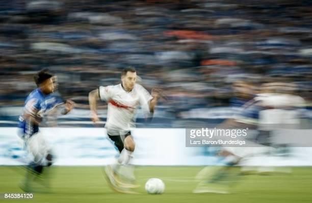 Anastasios Donis of Stuttgart runs with the ball during the Bundesliga match between FC Schalke 04 and VfB Stuttgart at VeltinsArena on September 10...