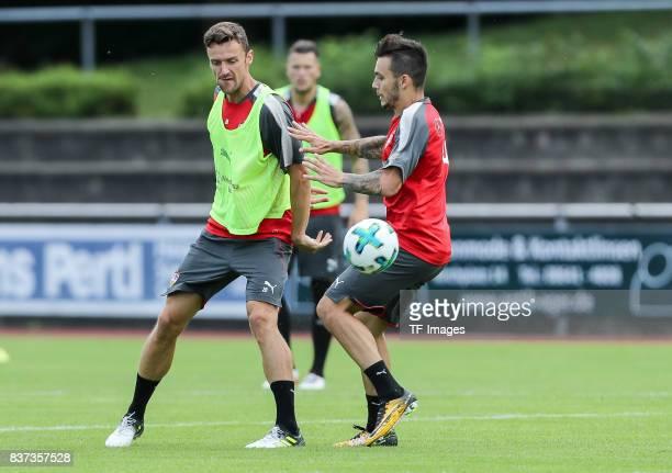Anastasios Donis of VfB Stuttgart and Christian Gentner of VfB Stuttgart battle for the ball during the Training Camp of VfB Stuttgart on July 10...