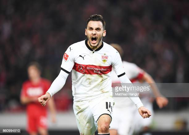 Anastasios Donis of VfB Stuttgart celebrates after scoring a goal during the Bundesliga match between VfB Stuttgart and 1 FC Koeln at MercedesBenz...