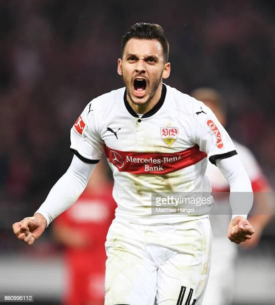 Anastasios Donis of VfB Stuttgart celebrates after scoring a goal during the Bundesliga match between VfB Stuttgart and 1 FC Koeln at MercedesBenz...