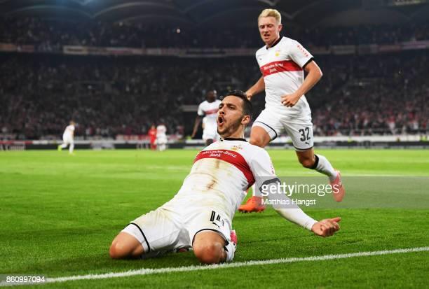 Anastasios Donis of VfB Stuttgart celebrates with Andreas Beck of VfB Stuttgartafter scoring a goal during the Bundesliga match between VfB Stuttgart...