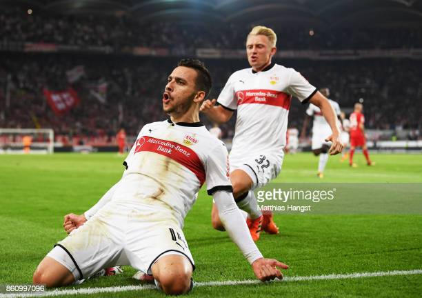 Anastasios Donis of VfB Stuttgart celebrates with Andreas Beck of VfB Stuttgartafter scoring a goal during the Bundesliga match between VfB Stuttgart...