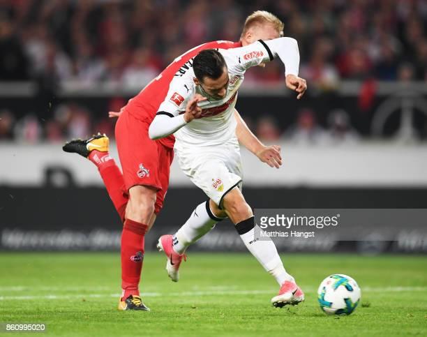 Anastasios Donis of VfB Stuttgart scores a goal during the Bundesliga match between VfB Stuttgart and 1 FC Koeln at MercedesBenz Arena on October 13...
