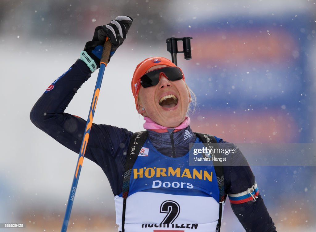Anastasiya Kuzmina of Slovakia celebrates crossing the finish line of the 10 km Women's Pursuit during the BMW IBU World Cup Biathlon on December 0, 2017 in Hochfilzen, Austria.