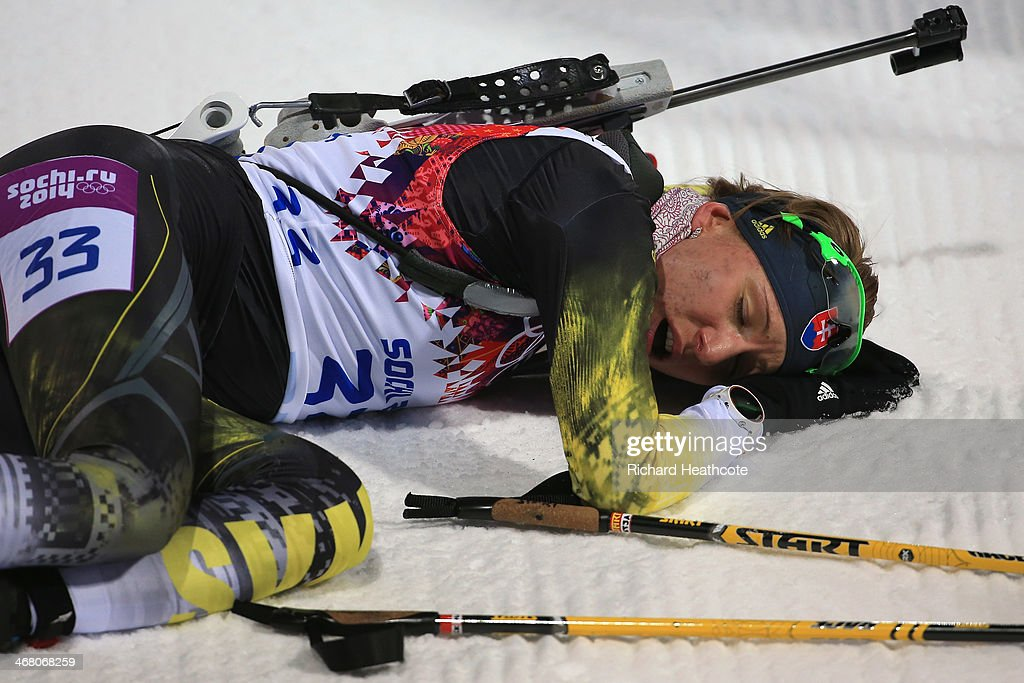 <a gi-track='captionPersonalityLinkClicked' href=/galleries/search?phrase=Anastasiya+Kuzmina&family=editorial&specificpeople=6738529 ng-click='$event.stopPropagation()'>Anastasiya Kuzmina</a> of Slovakia collapses on the snow after crossing the finish line in the Women's 7.5 km Sprint during day two of the Sochi 2014 Winter Olympics at Laura Cross-country Ski & Biathlon Center on February 9, 2014 in Sochi, Russia.