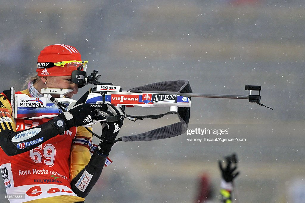 <a gi-track='captionPersonalityLinkClicked' href=/galleries/search?phrase=Anastasiya+Kuzmina&family=editorial&specificpeople=6738529 ng-click='$event.stopPropagation()'>Anastasiya Kuzmina</a> of Slovakia competes during the IBU Biathlon World Championship Women's 15km Individual on February 13, 2013 in Nove Mesto, Czech Republic.