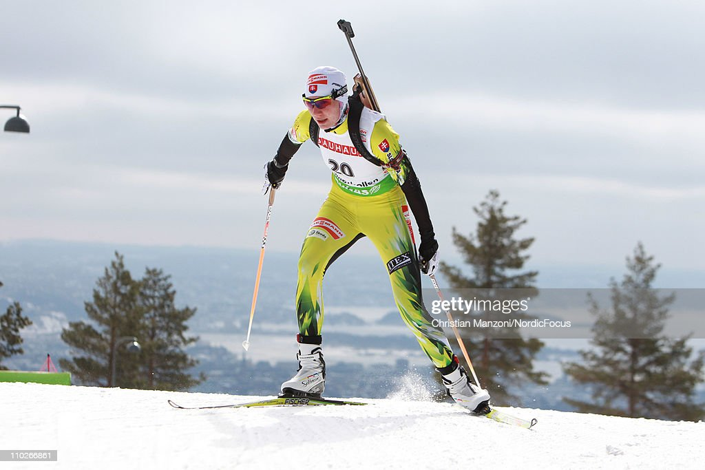 <a gi-track='captionPersonalityLinkClicked' href=/galleries/search?phrase=Anastasiya+Kuzmina&family=editorial&specificpeople=6738529 ng-click='$event.stopPropagation()'>Anastasiya Kuzmina</a> of Slovakia competes in the women's sprint during the E.ON IBU Biathlon World Cup on March 17, 2011 in Oslo, Norway.