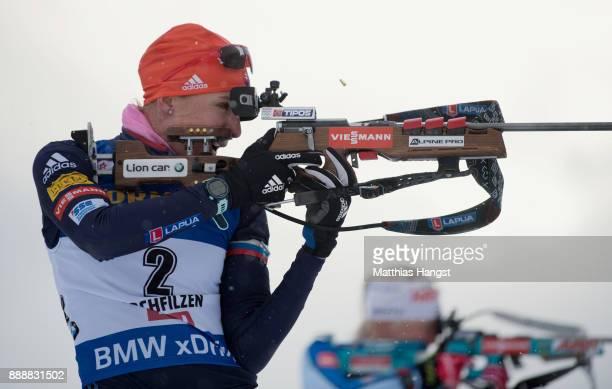 Anastasiya Kuzmina of Slovakia in action at the shooting range during the 10 km Women's Pursuit during the BMW IBU World Cup Biathlon on December 0...