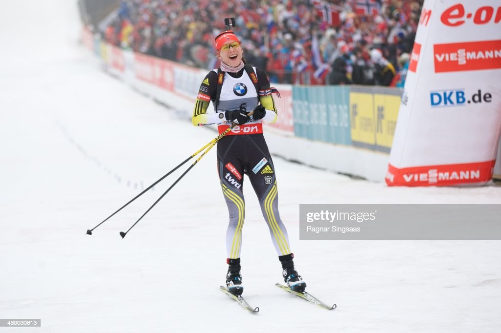 <a gi-track='captionPersonalityLinkClicked' href=/galleries/search?phrase=Anastasiya+Kuzmina&family=editorial&specificpeople=6738529 ng-click='$event.stopPropagation()'>Anastasiya Kuzmina</a> of Slovakia takes first place during the IBU Biathlon World Cup Women's 10 km pursuit race on March 22, 2014 in Oslo, Norway.