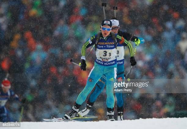 Anastasiya Merkushyna of the Ukraine on her way to winning the Silver medal in the Women's 4x 6km relay competition of the IBU World Championships...