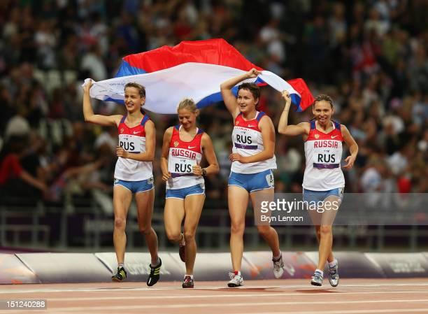 Anastasiya Ovsyannikova Svetlana Sergeeva Elena Ivanova and Margarita Goncharova of Russia win gold in the Women's 4x100m Relay T35/T38 on day 6 of...