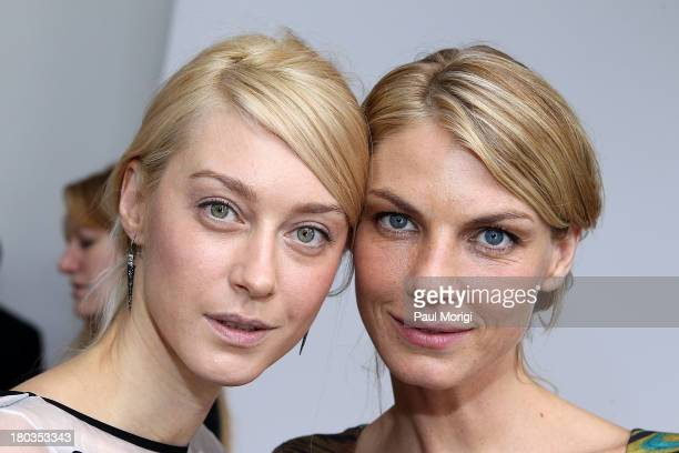Anastassia Khozissova and Angela Lindvall pose for a photo at the Philosophy By Natalie Ratabesi show during Spring 2014 MercedesBenz Fashion Week at...