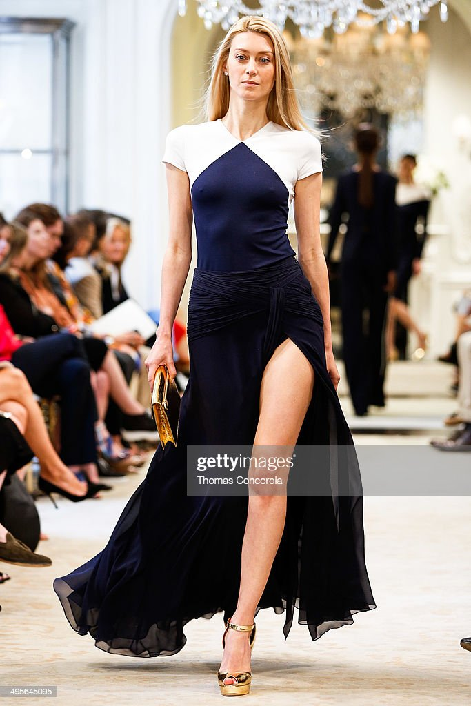 Anastassia Khozissova walks the runway during the Ralph Lauren resort 2015 showing on June 4, 2014 in New York City.
