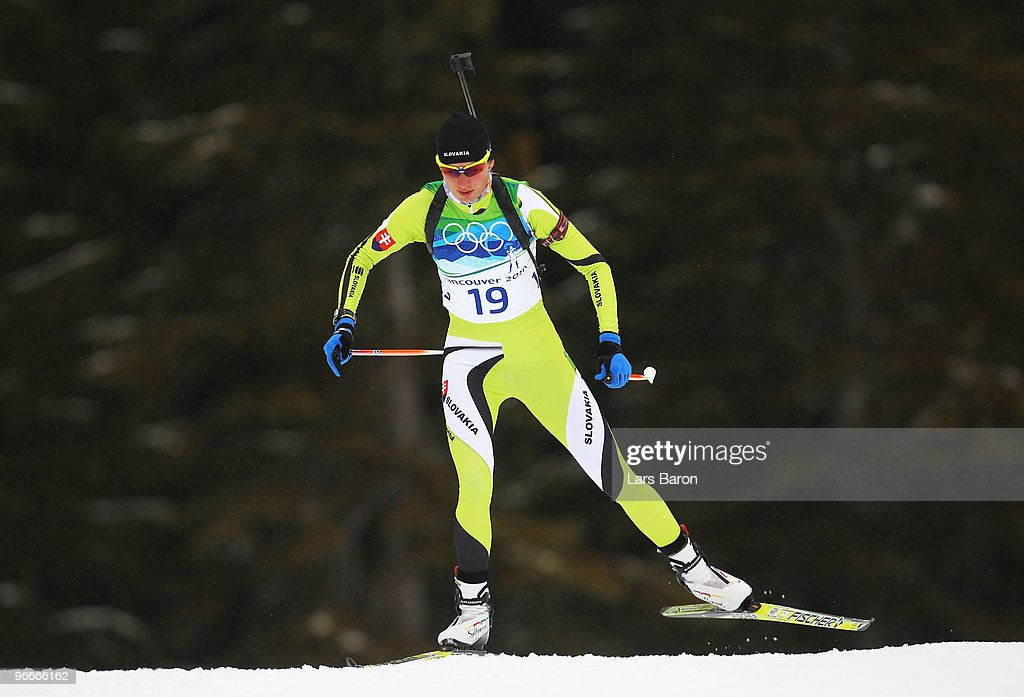 Anastazia Kuzmina of Slovakia competes during the Women's Biathlon 7.5 km Sprint on day 2 of the Vancouver 2010 Winter Olympics at Whistler Olympic Park Biathlon Stadium on February 13, 2010 in Whistler, Canada.