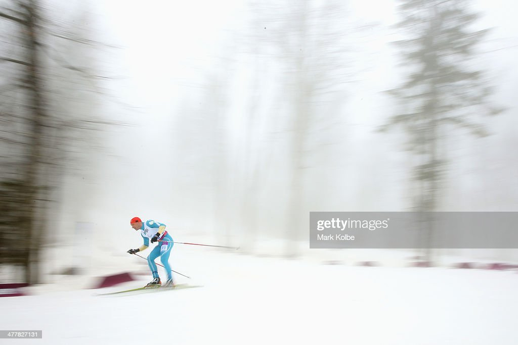 Anatolii Kovalevskyi of Ukraine competes in the Men's 12.5km Visually Impaired Biathlon during day four of Sochi 2014 Paralympic Winter Games at Laura Cross-country Ski & Biathlon Center on March 11, 2014 in Sochi, Russia.